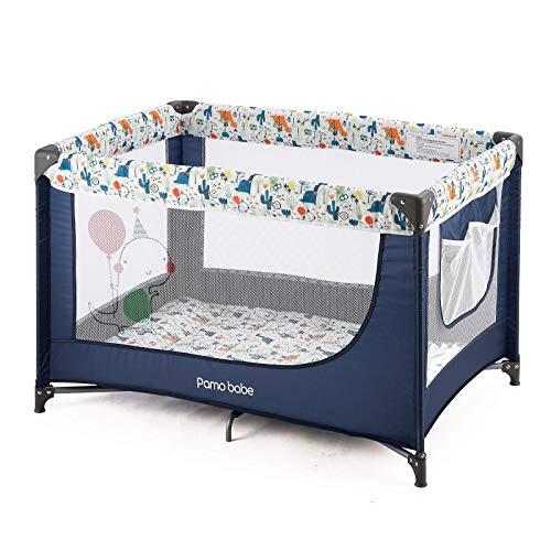 Pamo Babe Comfortable PlayardSturdy Play Yard with Mattress Blue