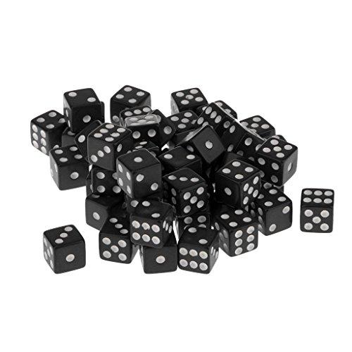 50 Piezas Juegos de Mesa Dados de 6 Caras Acrílico TRPG 12mm Color Negro