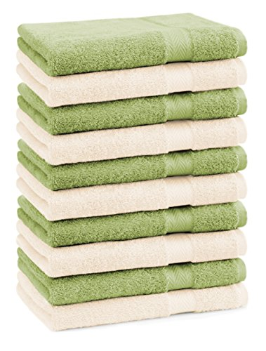 Betz Lot de 10 Serviettes débarbouillettes lavettes Taille 30x30 cm 100% Coton Premium Couleur Vert Pomme et Beige