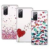 Young & Min Cover per Samsung Galaxy S20 Fe 4G/5G, 3 Pack Morbido Trasparente Silicone Custodie Protettivo TPU Gel Case, Amore