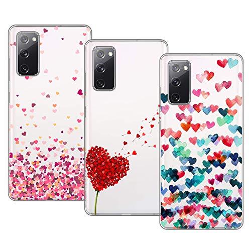 Young & Min Funda para Samsung Galaxy S20 FE 4G/5G, (3 Pack) Transparente TPU Silicona Carcasa Delgado Antigolpes Resistente, Amor