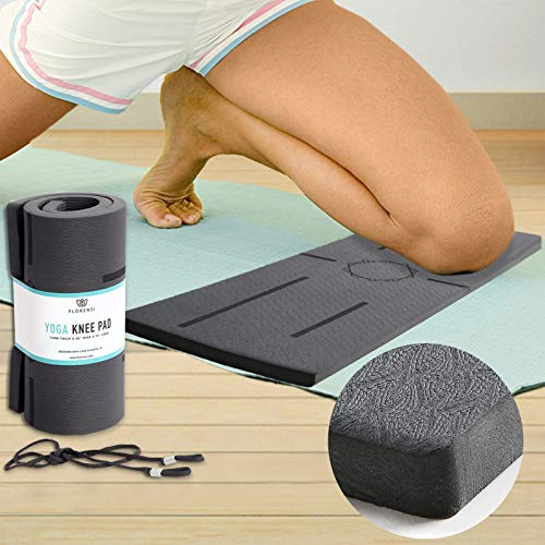 Florensi Yoga Knee Pad (15mm Thick), Multifunctional Kneeling Pads Extra Thick Support for Knees, Wrist, and Elbow, Knee Mat with Alignment Patterns, Yoga Knee Pads for Pain-Free Workout, Durable Pad