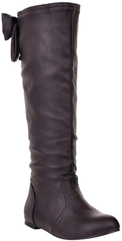 Stiefel Damen Schuhe Damenstiefel Mode Winterstiefel Bequeme Bowknot Flache Runde Zehe Oberschenkel Hohe Stiefel Elegant Winterstiefel (Farbe   Dark braun, Größe   CN 36=EU 37)  | Exquisite Handwerkskunst