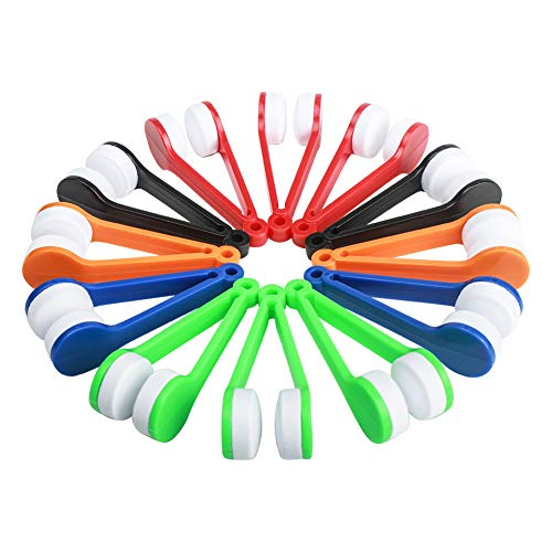Ciaoed 12 st glasögonrengörare, glasögonborste rengöringskit mini solglasögon rengöringsmedel, glasögon mikrofiber glasögon mjuk borste rengöringssats torka kit verktyg (grön, röd, svart, blå, vit, orange)