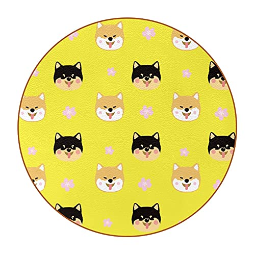 Shiba dog, Premium PU Leather Coasters Reusable Drink Round Coasters Suitable for Home and Kitchen Decoration(6PCS)