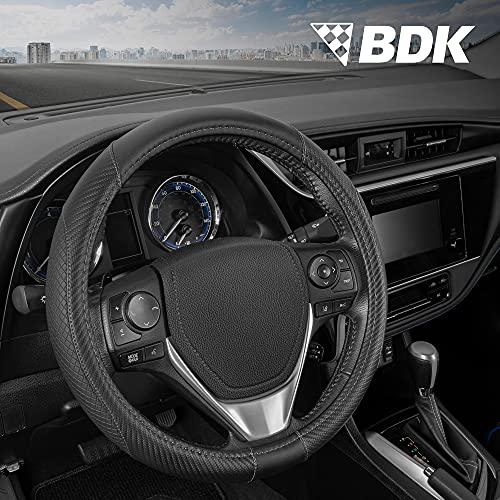 BDK GripTech Diamond Steering Wheel Cover for Car Truck Van SUV, Medium (14.5' - 15.5') – Ergonomic Comfort Grip for Men & Women, Universal Fit Steering Cover for Honda Toyota Chevy Ford Accessories
