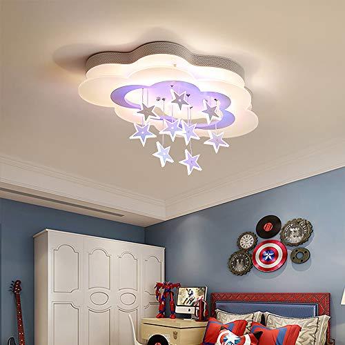 Lámpara de techo para habitación de los niños lámpara LED de techo regulable con mando a distancia nube estrellas decoración infantil dormitorio color blanco diseño moderno lámpara de techo (65 cm)