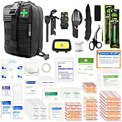 MASTER SOS First Aid Survival Kit with MOLLE System, 260 Pc Set, Rugged EDC Military Trauma Bag for Outdoor Survivalists, Camping, Emergency EMT Response, Hiking and Earthquake Safety (Black)