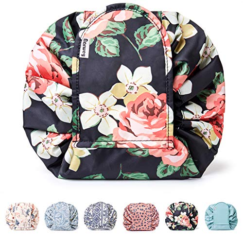Portable Lazy Drawstring Makeup Bag Travel Cosmetic Pouch Toiletry Organizer Waterproof Large (Black Peony)