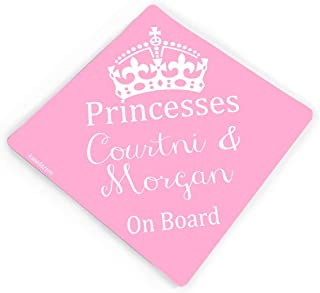 Crown Princess Ava On Board Personalised Baby Girl Car Sign