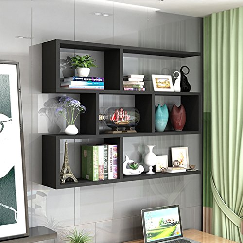 Büroschränke & -ablagen Regale Drei Schichten Desktop Wall Unterstützung Layered Shelf Landing Hängeschrank Show Rollcontainer (Color : Black)