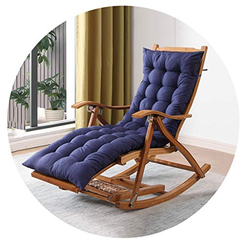 XEWNEG Folding Bambus Schaukelstuhl, Haus Old Man Mittagspause Massivholz Lounge Chair, 5 Verstellbare Rücken Stühle, Mit Wattepads Und Dehnbare FußMassager (Color : Wood Color+Blue Cotton pad)
