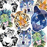 N-A Cool Animal Cartoon Stickers Tiger Lion Wolf Boys Stickers Decorate for Suitcase Bottle Laptop 7~10CM 5 Pcs/Set