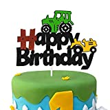 Tractor Cake Topper Green Farm Vehicle Cars Construction Dump Truck Themed for Kids Boy Girl Happy Birthday Party Supplies Black Glitter Décor Double Sided