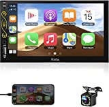 Hieha Car Stereo, Car Audio Receivers Double Din 7 Inch for Apple CarPlay & Android Auto, Car Radio with Bluetooth and Backup Camera, MP5 Car Stereo with Touch Screen, SWC, Mirror Link, AUX, FM