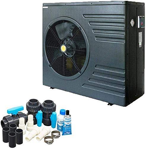 well2wellness ON/Off Pool Wärmepumpe Mida.Black 21 - Poolheizung mit Einer Heizkapazität bis 20,6 kW Plus Bypass Set Basic + Abdeckung