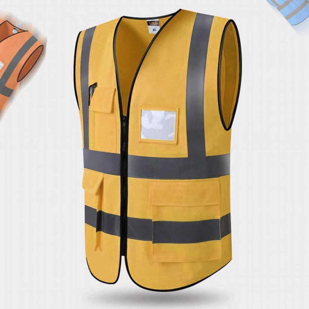 Reflexstreifen Und Rei/ßverschluss 5 Farben Zur Auswahl 3 Gr/ö/ßen Almencla Warnweste Mit Taschen