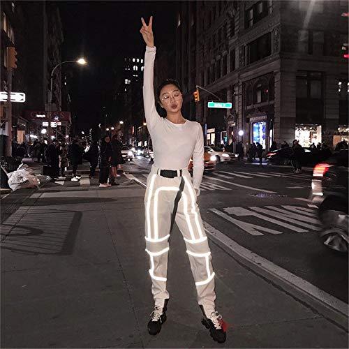 QiHaoHeji Reflektierende Hose, hohe Sichtbarkeit, Jogginghose, reflektierendes Band, Sicherheitsband, elastischer Taillenbund, Jogginghose, fluoreszierende Hose X-Large grau