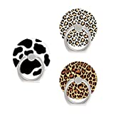 Phone Ring Holder- Cell Phone Ring Finger Grip Stand 360 Degree Rotatable Kickstand Cow Cheetah Print Pattern Compatible with iPhone Samsung Google Oneplus Moto Smartphones iPad Pad Tablets 3 Packs