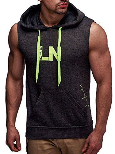 Leif Nelson Gym Herren Fitness T-Shirt Hoodie Trainingsshirt LN06260; Größe M, Anthrazit-Gelb