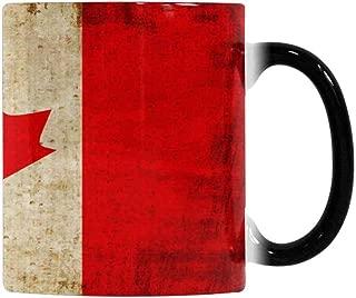 InterestPrint Canada Flag Heat Sensitive Color Changing Coffee Mug, Ceramic Mug 11oz Morphing Tea Cup for Mom Dad Grandpa Grandma