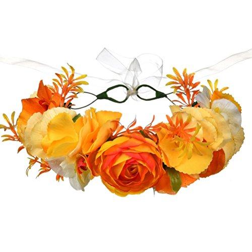 BESTOYARD Hawaiian Blume Stirnband Floral Kranz Garland Luau tropischen Kopfschmuck Hochzeit Kopfbedeckung für Frauen Mädchen Haarschmuck (gelb)