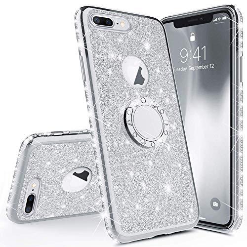 Coque Compatible avec iPhone 6 Plus,Etui iPhone 6S Plus Coque Silicone Bling Gliter Paillette Luxeu Strass Coque + Bague Support TPU Souple Anti-Choc Métal Coque Housse Etui iPhone 6/6S Plus,Argent