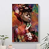 wojinbao Resumen de Lienzo de Arte de paredColorido Retrato de Mujer ng Abstracto África Chica Carteles e Impresiones Cuadros Wall Art Picture for Living Room Decor