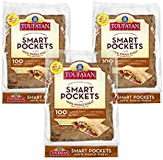 Toufayan Bakery, Whole Wheat Smart Pockets Pita Bread, Low Calorie, Naturally Vegan, Cholesterol Free and Kosher (7.4oz Bags, 3 Pack)