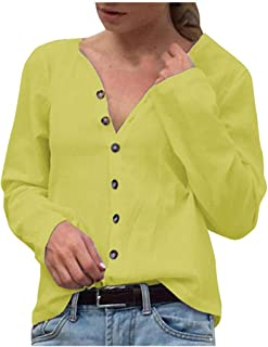 Loosebee◕‿◕ Womens Casual Lightweight V Neck Long Sleeve Cardigan Sweaters with Buttons Simple Solid Color Top Blouse