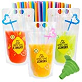 50 Pcs Drink Pouches for Adults, Frosted Translucent Reclosable Drink Bags, Juice Pouches for Cold &...