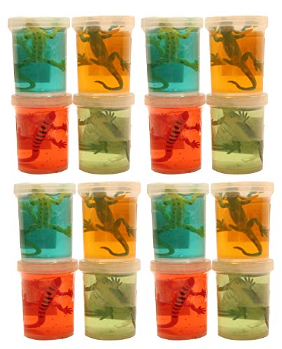 Bulk - 12 Lizard Slimes - Fun Slime with Reptile Figurine - Putty - Goo - Party Favors and Goodie Bags