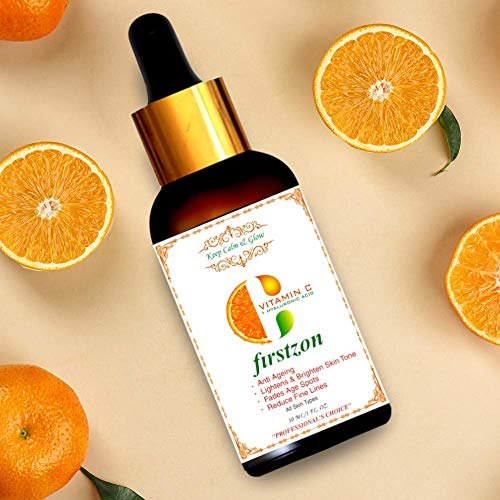 FIRSTZON Vitamin C Serum for Face with Vitmain C 40%, Hyaluronic Acid and Green Tea Extract | for skin Brightening, Anti Ageing, Wrinkle Control 30 ml | made in india