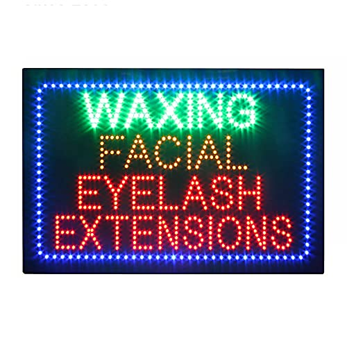 Waxing Facial Eyelashes Sign, Super Bright Electric Advertising Display Board for Beauty Salon Nails Salon Business Shop Store Window Home Decor (HSW0192)