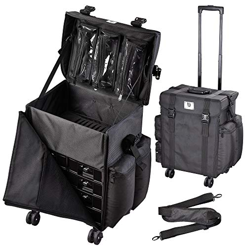 Byootique Rolling Removable 360-Degree Wheel Makeup Case Cosmetic Organize Storage Travel Case Soft...