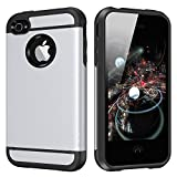 iPhone 4 Case, CHTech iPhone 4S Case Dual Layer Hybrid Slim Armor Case with Solid PC and Shockproof TPU for iPhone 4 / 4S (Silver)