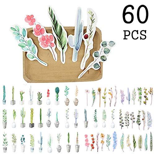 Fiore giardino botanico Segnalibri a foglia per bambini Bambini Ragazzi ragazze, novità Letterario artistico Marcatore di libri freschi per studenti (60 pezzi)