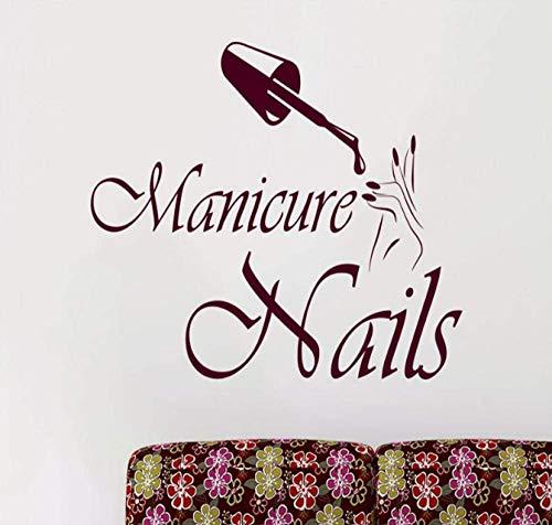 Filles Salon De Beauté Wall Decal Nails Salon Vinyle Stickers Muraux Manucure Mode Décoration Intérieure 42X60Cm