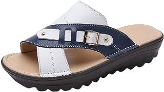 Sandalias de Punta Descubierta para Mujer Zapatos Damas de Mujer de Verano Ahuecan hacia Fuera Las Sandalias de la Hebilla de la Cu/ña Zapatos Ocasionales Xinantime Sandalias Mujer Plataformas Cu/ña