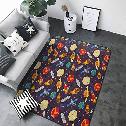 """Office Chair Floor Mat Foot Pad Space,Universe Themed Illustration with Earth Moon Constellations Saturn Rockets Stars, Multicolor 80""""x 120"""" Best Floor mats"""
