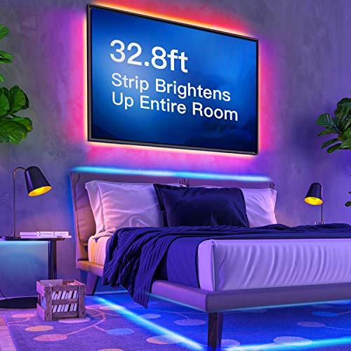 LED Strip Lights 16.4ft x 2 Rolls 5050 RGB Color Changing Lights Waterproof Flexible Tape 300 LEDs Light 32.8ft Strips Kit with IR Remote Controller Power Kit for Home Bedroom Kitchen DIY Decoration 3