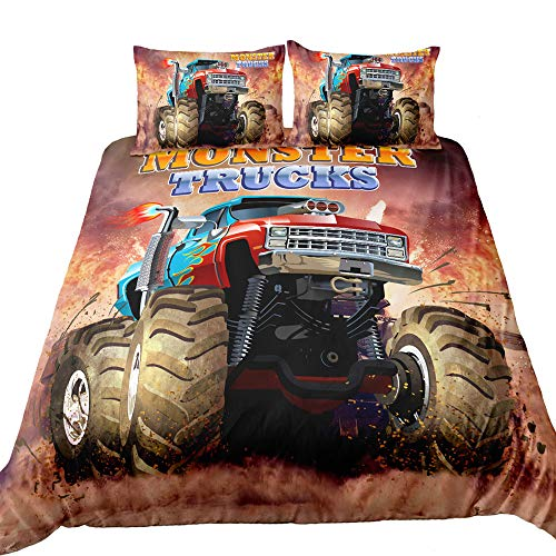 Suncloris,3D Monster Truck Home Bedding,Monster Truck Off Road Mud Fighting Crazy Monster Truck Duvet Cover Sets.Included: Duvet Cover,Pillowcase(no Comforter Inside) (Twin)
