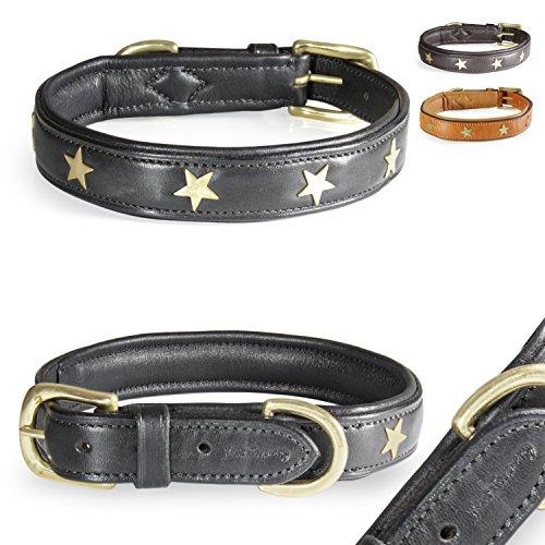 Pear - Tannery - Fashion Line: Hundehalsband Aus Weichem Vollrindleder, Versehen Mit Einer Stern-Verzierung Mittig, XS 31-41cm, Schwarz