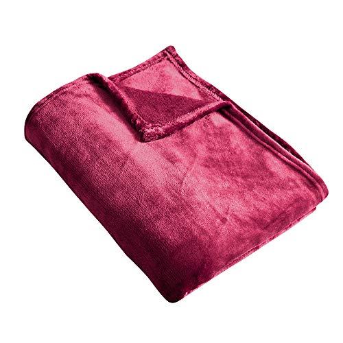 Manta de Microfibra Color sólido, Mantas para Sofás, Suave, Microfibre Extra Suave, Multifuncional para sofá, Cama, Viajes, Viajes, Adultos, niños, Animales, Rojo 160 X 210 cm