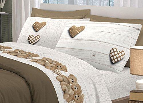Set complet de lit en flanelle souple Motif New oursons Matrimoniale beige