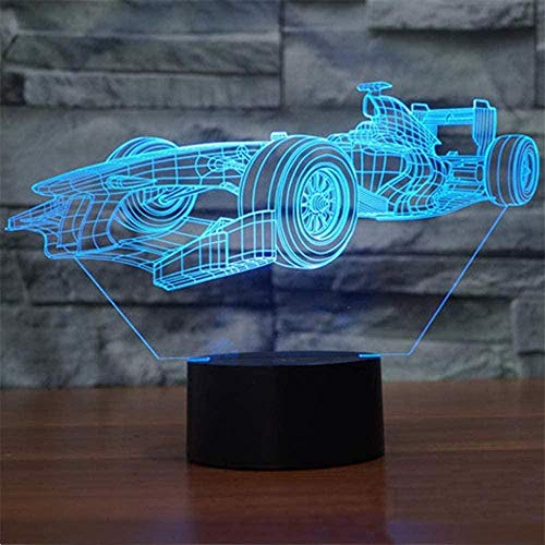 Luz nocturna de princesa para niños de carreras de coche de 16 colores con control táctil USB, lámpara visual 3D para decoración del hogar, regalos de cumpleaños de Navidad