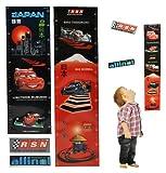 3-D meßlatte Cars voiture-Sticker mural Sticker Autocollant avec 2-Imperméable-Toise Disney Mc Queen Chambre Sticker mural autocollants pop-up