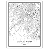 HONG Drucke Leinwand, Rawalpindi Pakistan Stadtplan