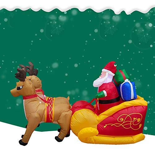 yuiopps Kerstmis Opblaasbare Elk Slee Kerstman met LED Lights Kerstfeest Yard Patio Tuin Thuis Gazon Indoor Outdoor Decoratie