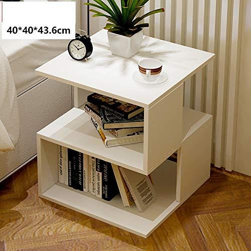 Home&Selected Furniture / modern nachtkastje, printerstandaard met bagage, multifunctionele plank voor slaap- en woonkamer, 40 x 40 x 44 cm, kleur: wit
